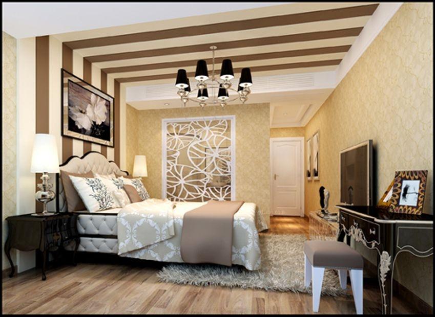 复式楼现代简约卧室卧室背景墙