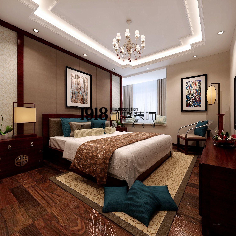三室两厅中式风格主卧室_新世界155平装修效果图-x团图片