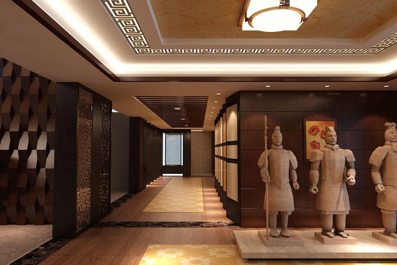 中式风格_力豪仿古砖展厅装修效果图-x团装修网