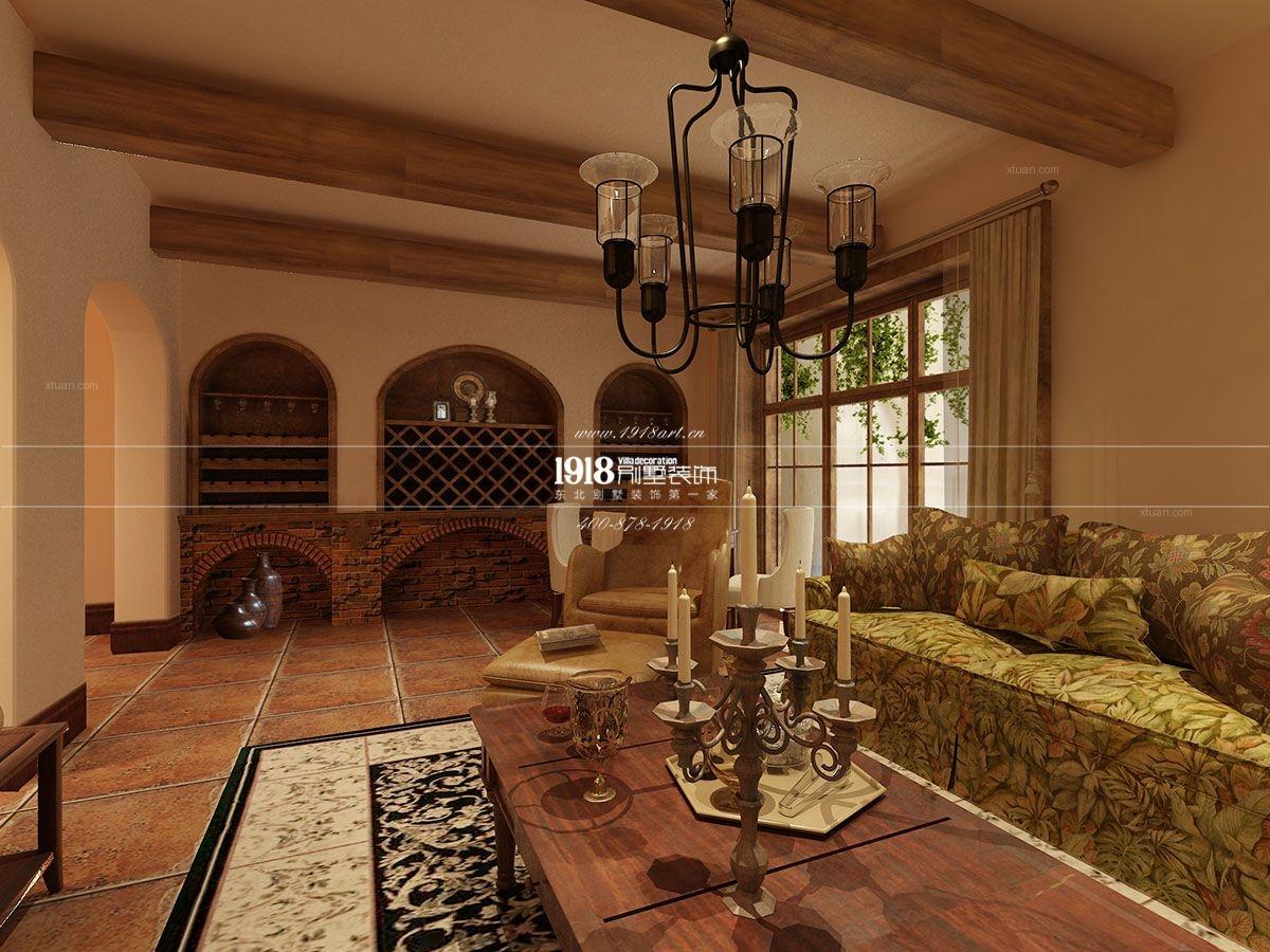 别墅美式风格客厅_沈阳万科兰乔圣菲装修效果图-x团图片
