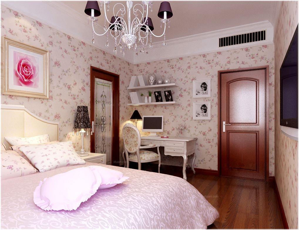 三居室田园风格卧室墙绘
