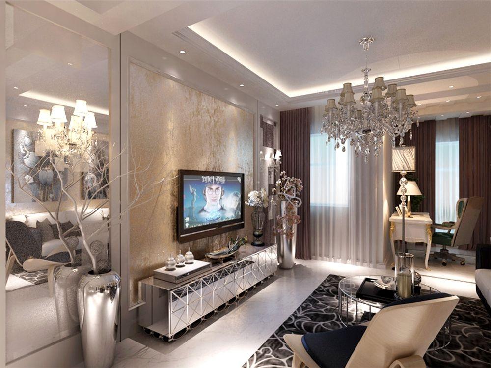 两室两厅混搭风格客厅电视背景墙