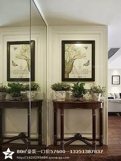 三居室美式风格玄关入户花园图片