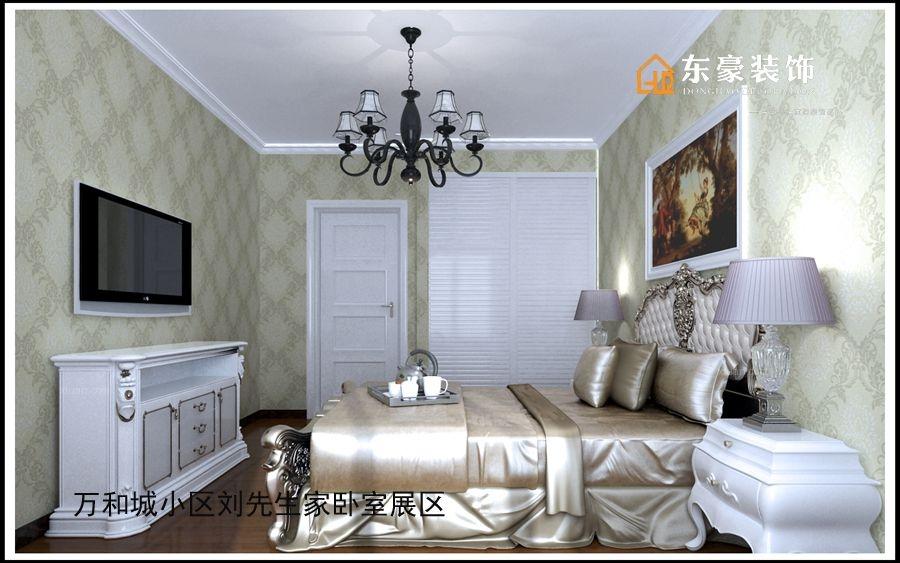 三居室简欧风格主卧室卧室背景墙图片