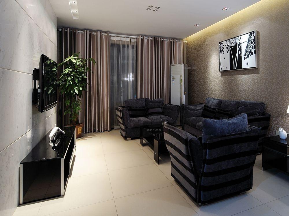 三居室混搭风格客厅电视背景墙_书香人家140平港式图图片