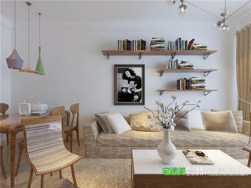 三室两厅现代简约休闲区沙发背景墙