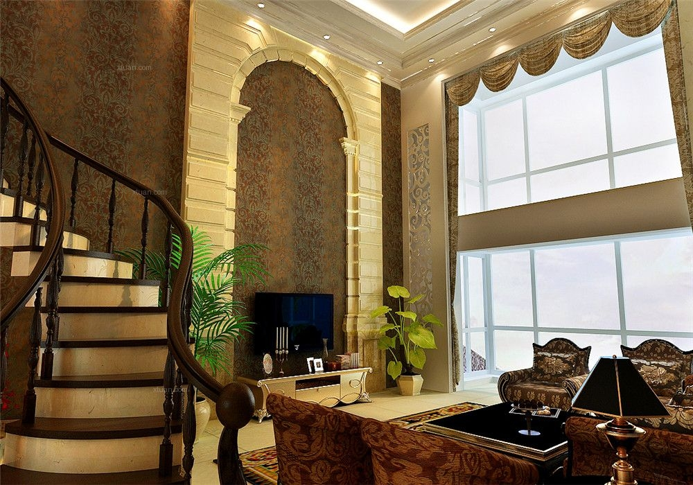 跃层简欧风格客厅圆形吊顶图片