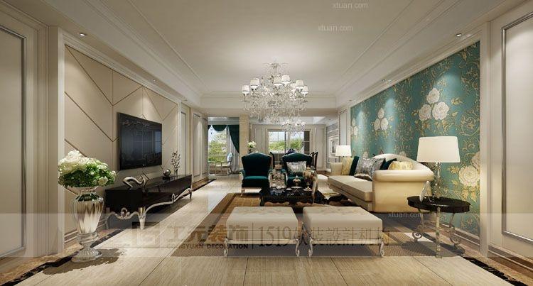 四居室简约风格客厅电视背景墙