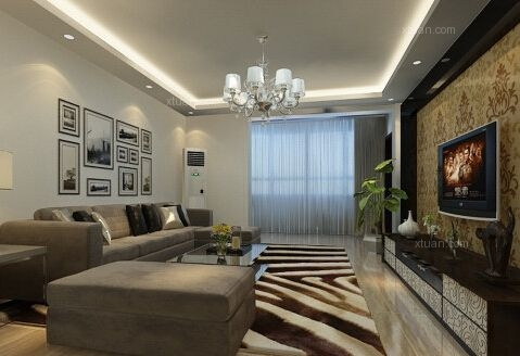 江南区新世界装饰客厅新中式风格装修案例效果图