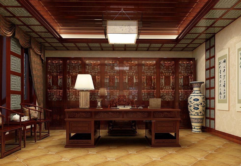别墅中式风格书房_海伦堡千鹭湾装修效果图-x团装修网