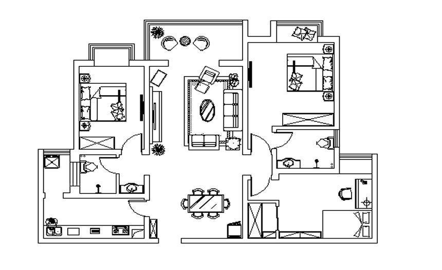 方圆经纬142平三室温馨大方装修效果图