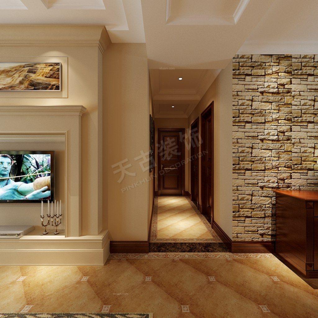 三居室美式风格过道图片