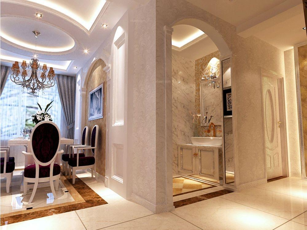 三居室欧式风格客厅圆形吊顶图片