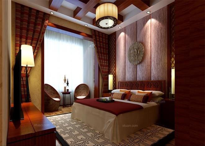 三居室东南亚风格卧室