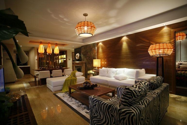 三居室中式风格客厅沙发背景墙
