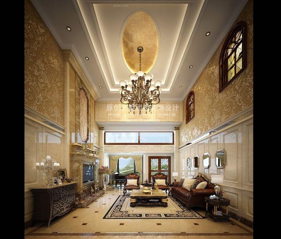 别墅现代简约客厅沙发背景墙