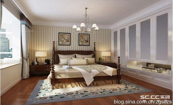 兩室兩廳美式風格臥室_翠島天成美式鄉村風格裝修效果