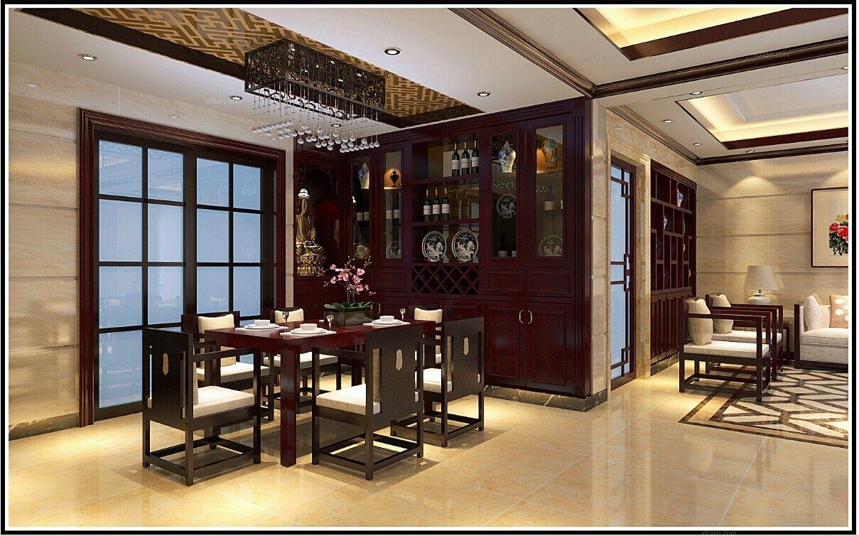 复式楼中式风格餐厅客厅隔断图片