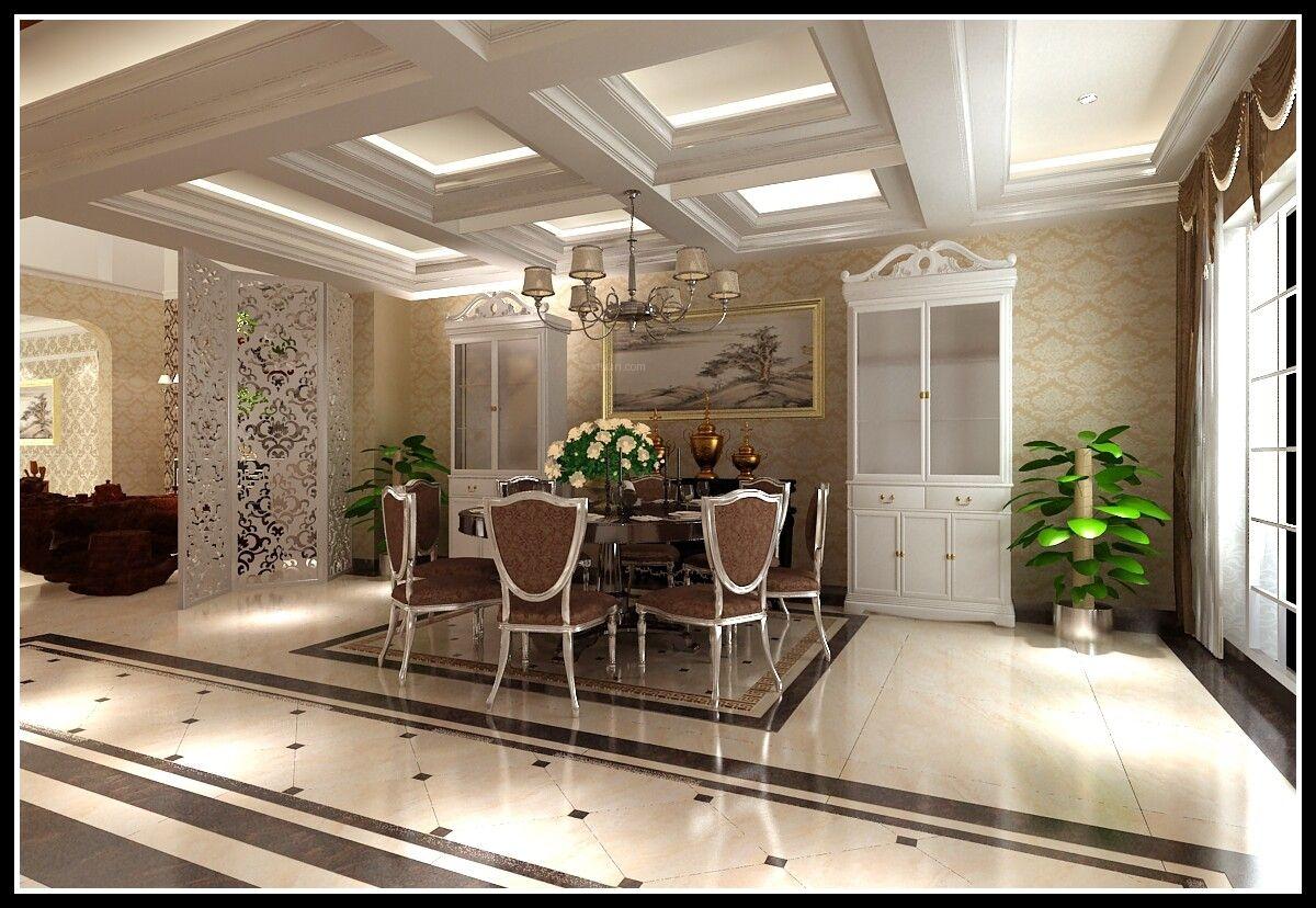 联排别墅欧式风格餐厅开放式厨房