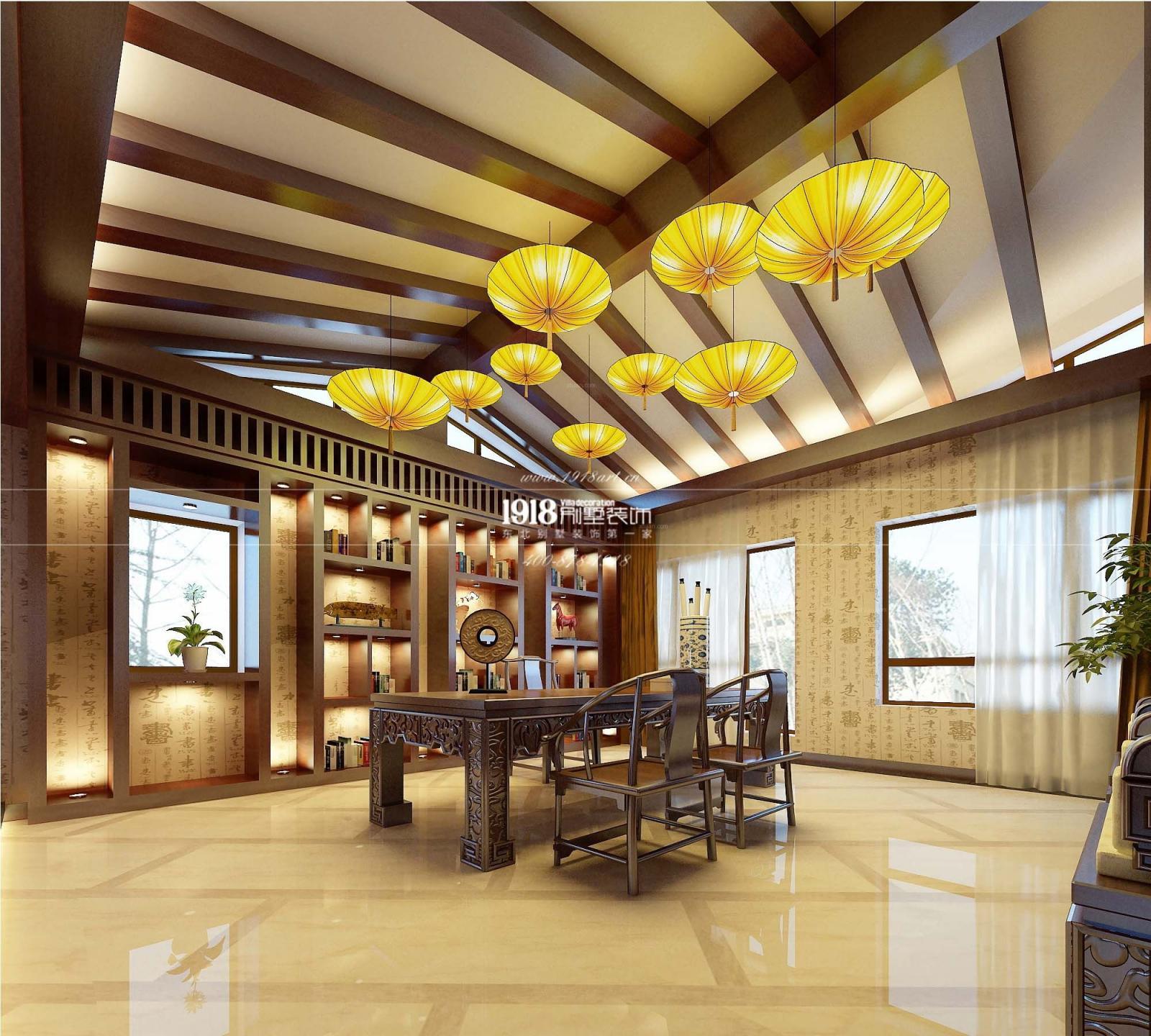 别墅中式风格餐厅_锦州联排别墅中式风格装修效果图图片