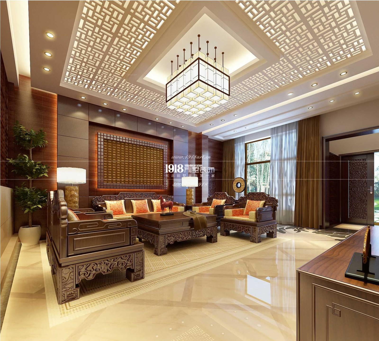 锦州联排别墅中式风格装修效果图图片