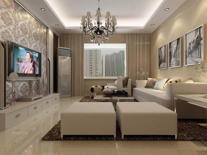 三居室现代简约客厅墙绘