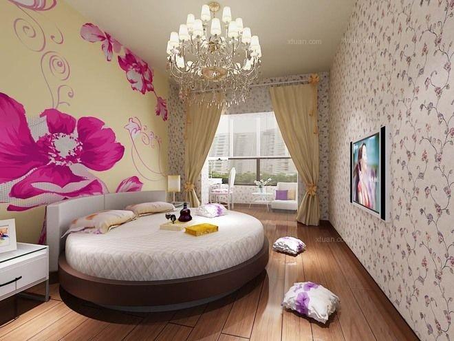三居室现代简约卧室墙绘