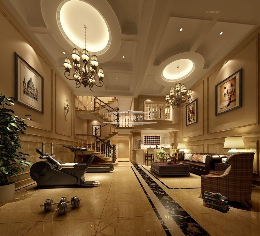 跃层欧式风格地下室沙发背景墙图片