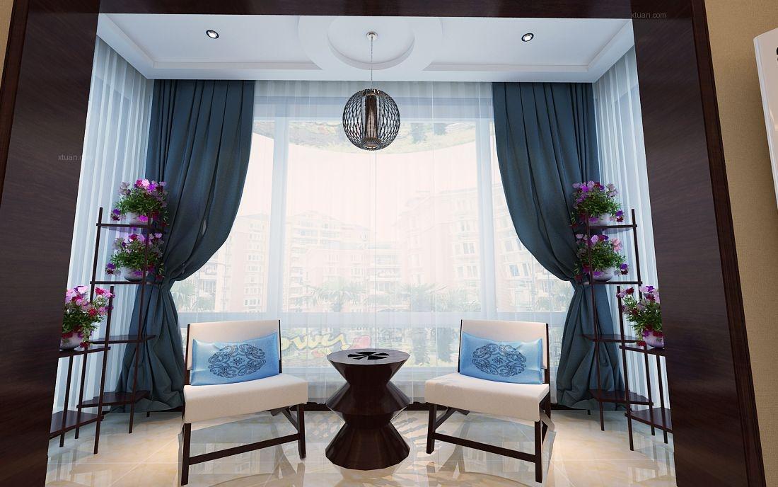 两室一厅中式风格阳台花园