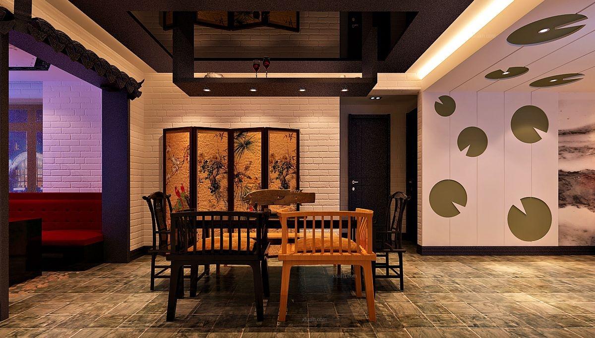 两室一厅餐厅_军区65165-新中式风格-哈尔滨麻雀装饰图片