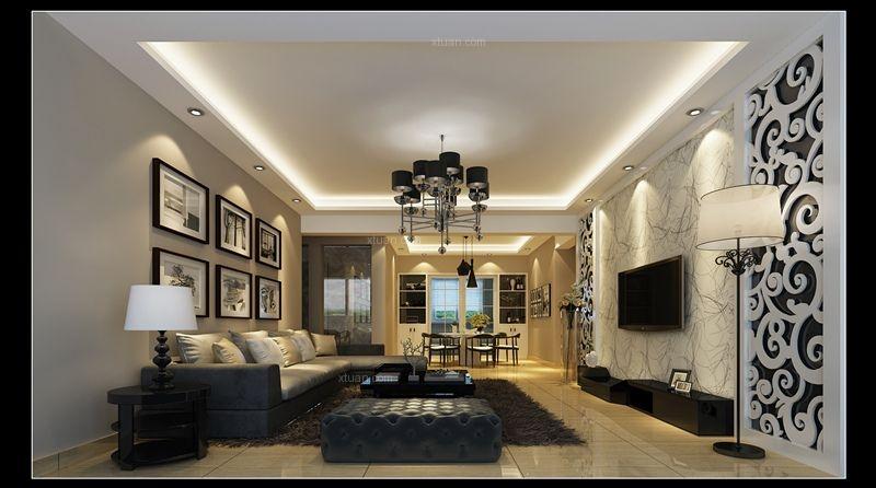 三居室时尚风格客厅电视背景墙
