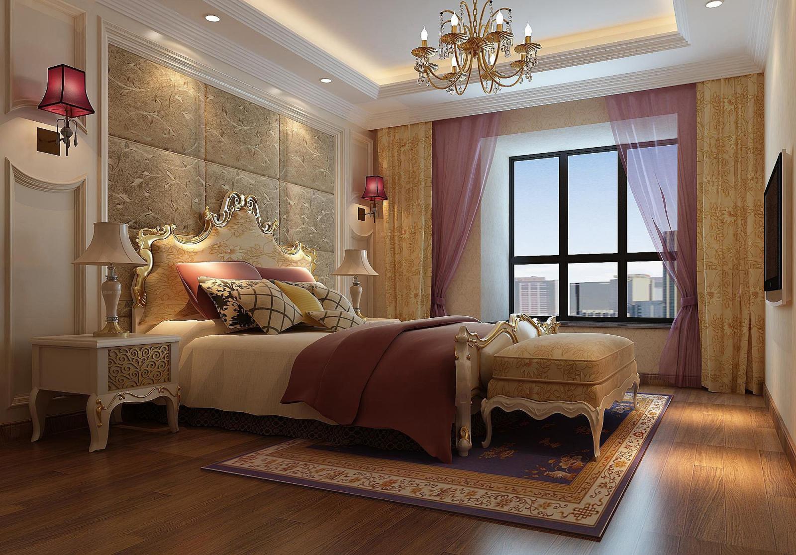 三室两厅欧式风格卧室_玺龙湾装修效果图-x团装修网图片