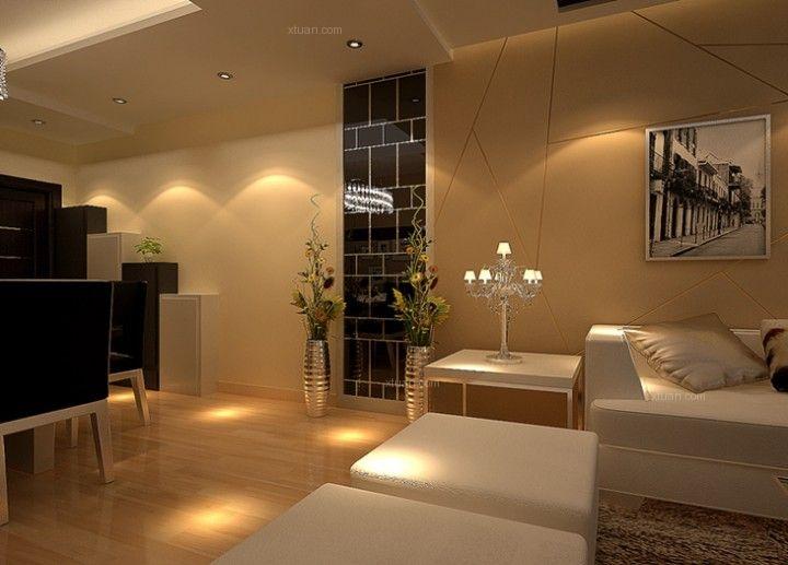 兩居室現代簡約客廳_溫馨現代簡約風格裝修效果圖-x團