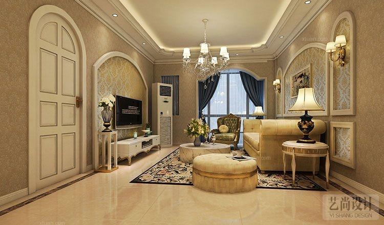 国龙绿城怡园89平方两室两厅简欧风格装修方案效果图