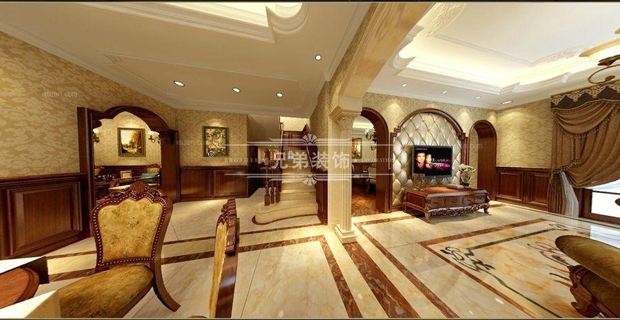 跃层欧式风格客厅电视背景墙