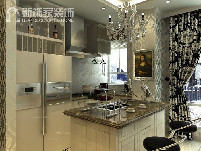 三室两厅新古典厨房开放式厨房图片