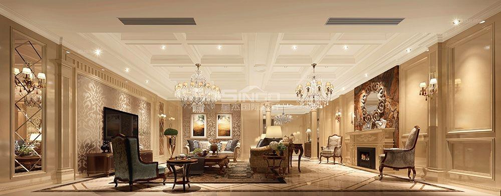 别墅美式风格客厅软装