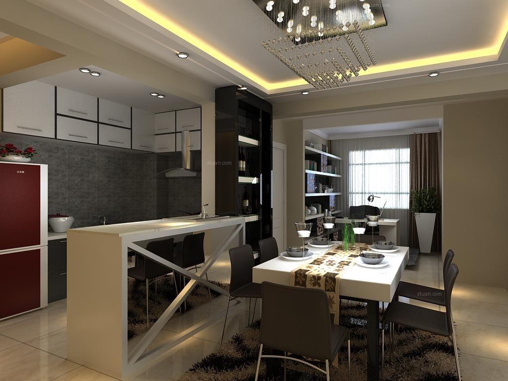 两居室现代风格餐厅_阳光一百110平后现代装修效果图