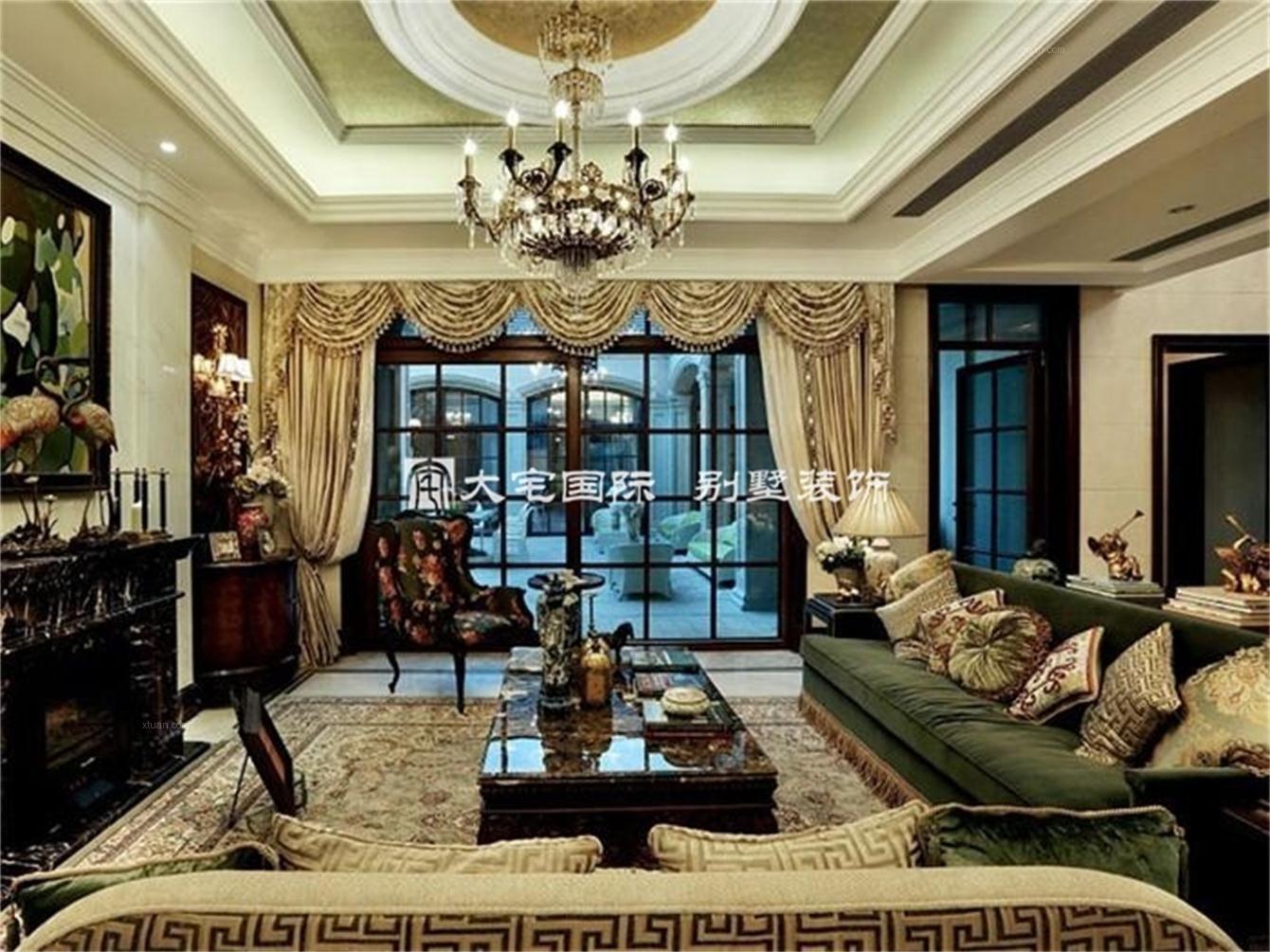 别墅欧式风格客厅_经典欧式别墅设计案例装修效果图