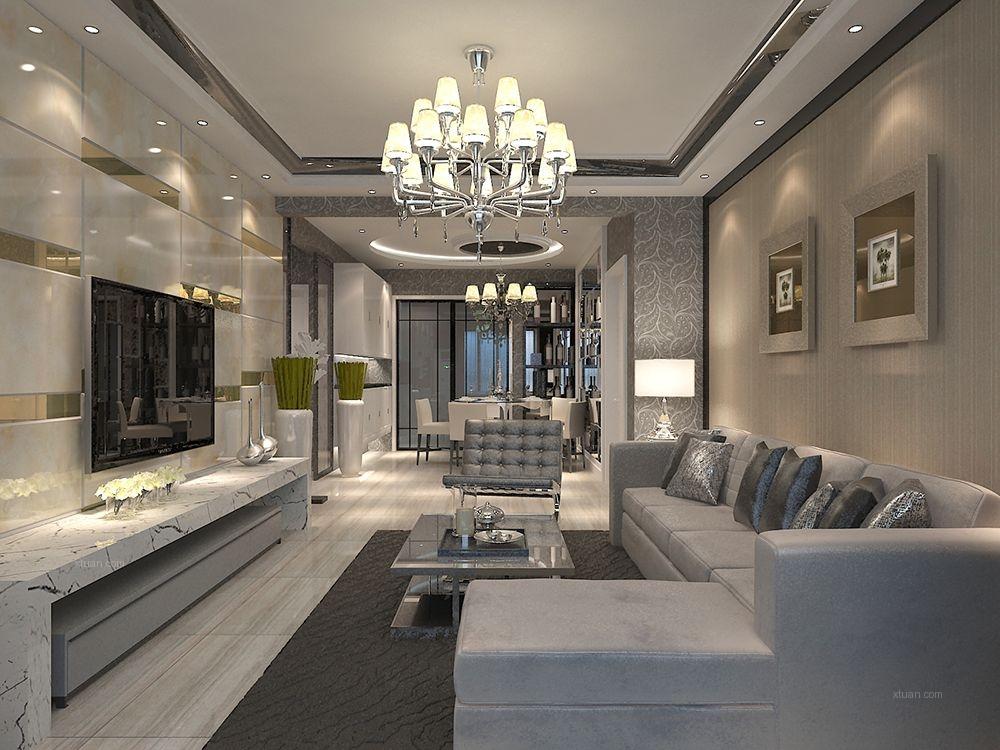 两居室现代简约客厅_大秦左岸c户型装修效果图