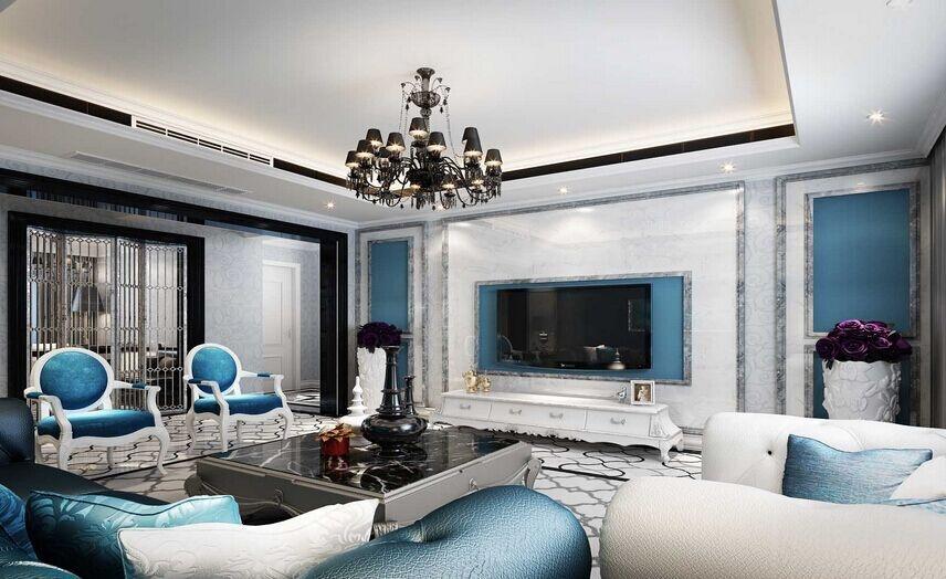 四居室欧式风格客厅_德式后现代四居美室装修效果图-x图片