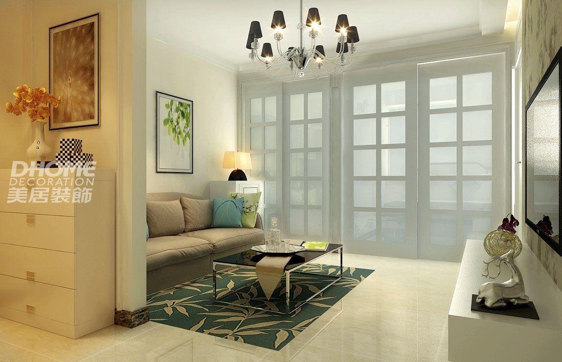 两室一厅客厅隔断_清新小户型 50平 美里新居装修效果
