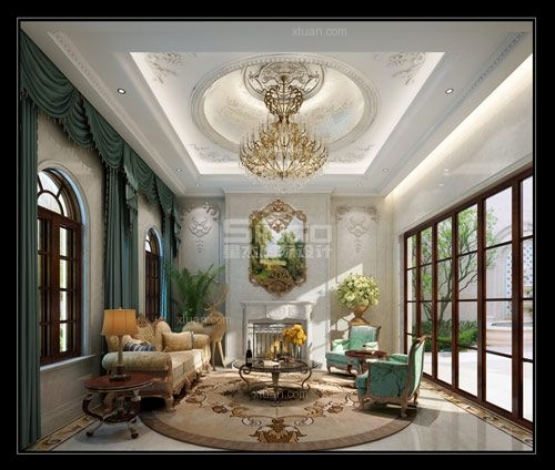 独栋别墅法式风格客厅软装