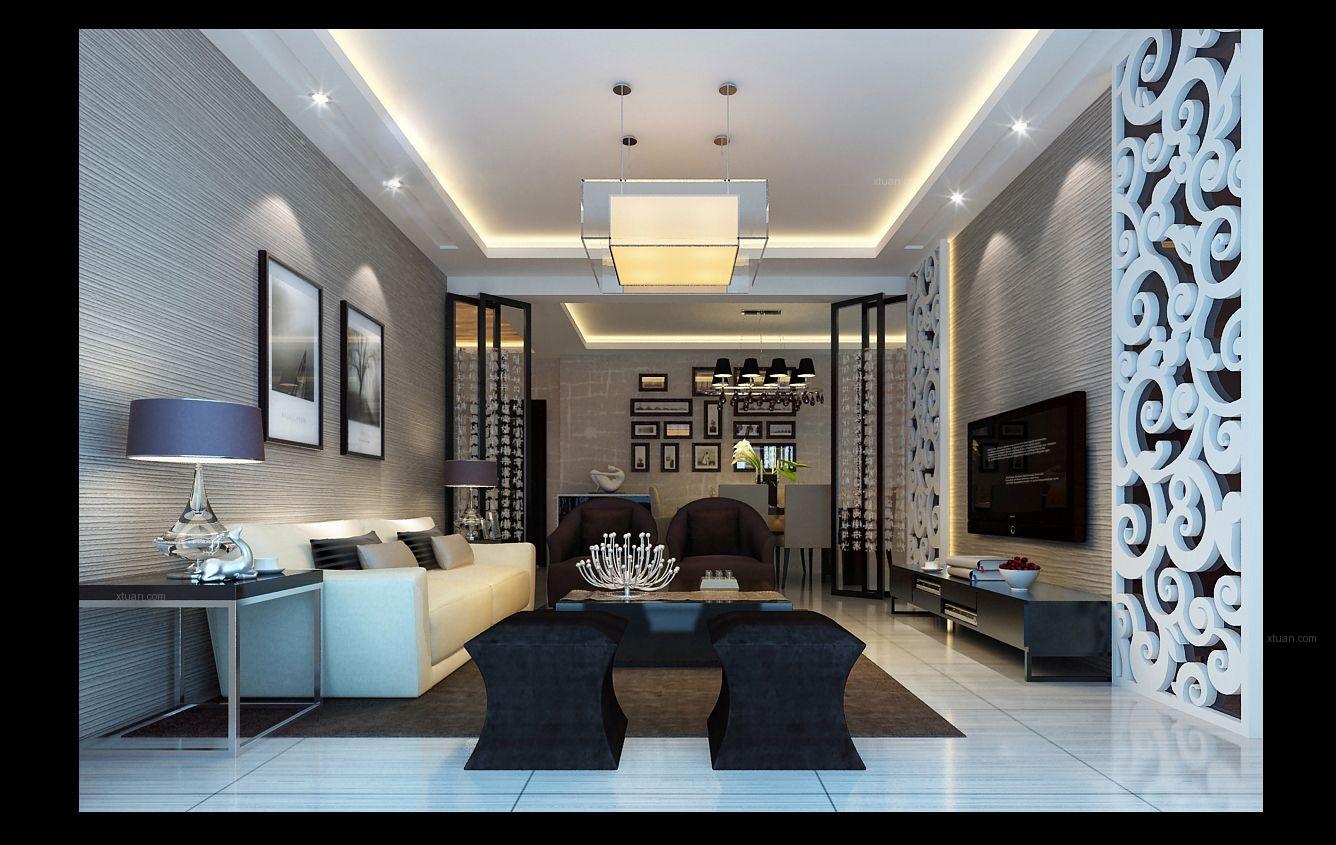 四居室简约风格客厅墙绘