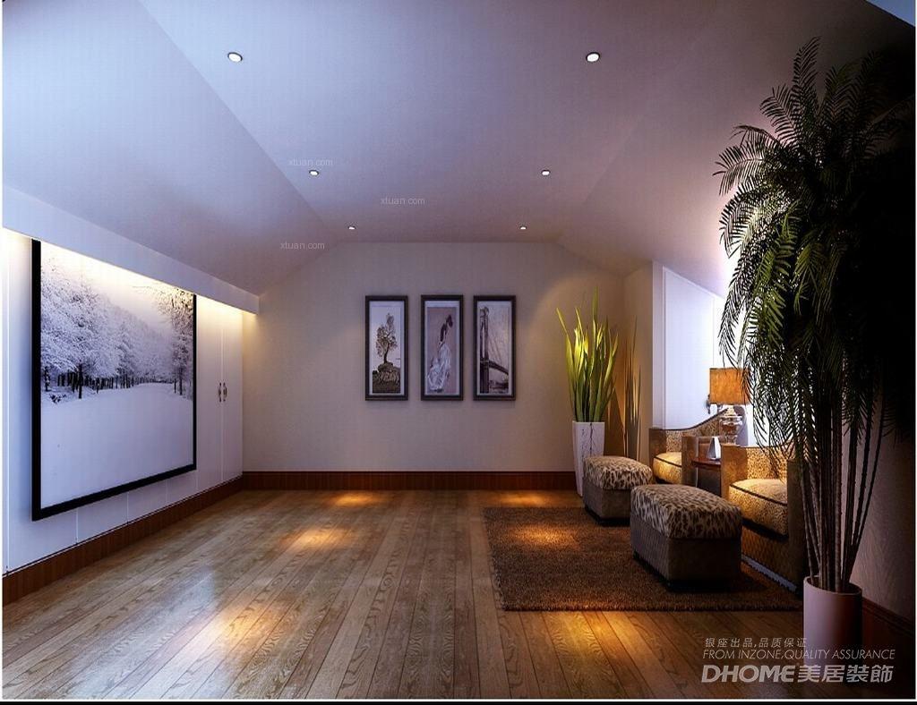 别墅中式风格休闲区影视墙图片