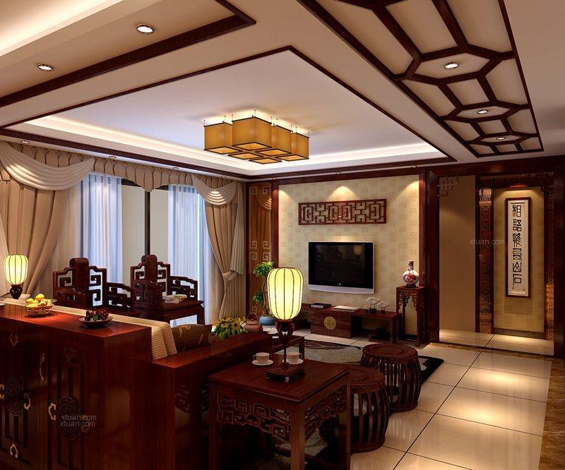 三室两厅中式风格客厅_颐和山庄装修效果图-x团装修网图片