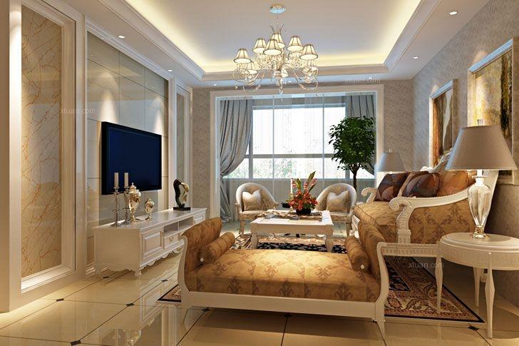 两居室古典风格客厅电视背景墙