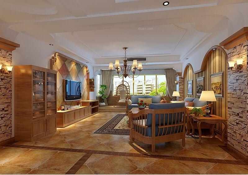 四居室美式风格客厅沙发背景墙图片