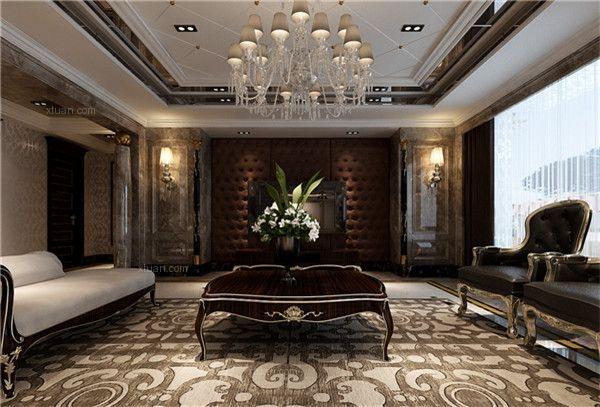 大户型简欧风格客厅_远大生态风景两套打通装修效果图图片