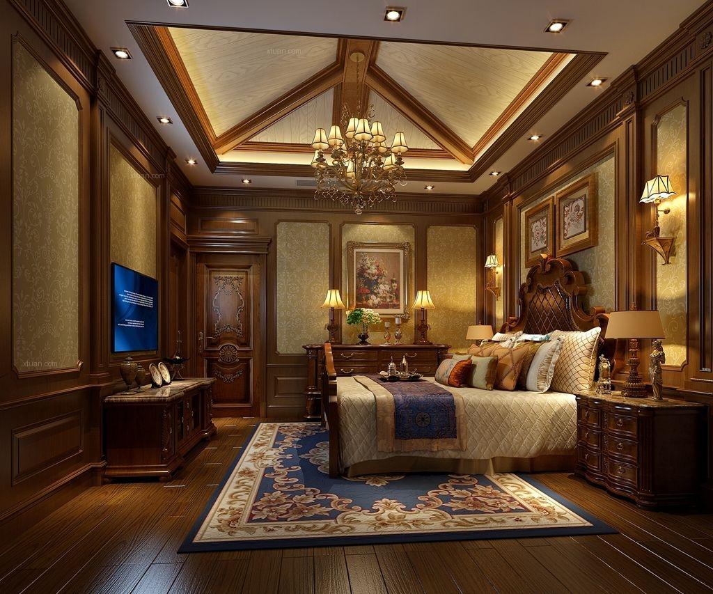 四居室美式风格卧室_成都别墅公司美式风格装修效果图图片
